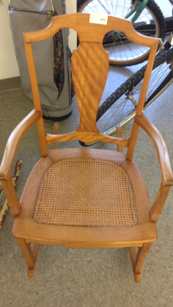 Vintage Small Wicker Rocking Chair 0