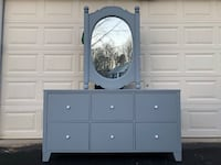 Lifestyle Solutions Solid Wood Long Dresser With Mirror Gray With White Handles Price is Firm  Woodbridge, 22192