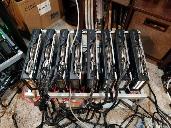 8 gpus Ethereum 250 mh/s mining rig sapphire cards