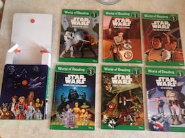 Set of 6 Star Wars level 1 books with box as brand new all $10