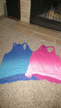 two blue and pink ombre racer back tank tops