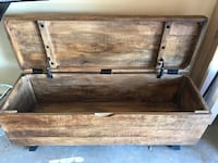 Reclaimed wood storage trunk or tv console stand with storage