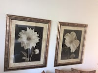 two brown wooden framed painting of white flowers Irvine, 92606