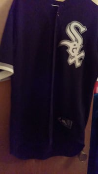 blue and white Sox jersey shirt