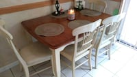 rectangular brown/white wooden table- 4 chairs Middle Island, 11953