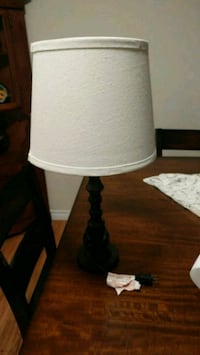 brown wooden base with white lampshade table lamp London, N6J 4A9