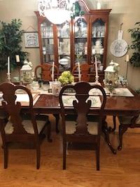 Rectangular cherry wooden table with chairs dining set Houston