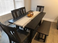 Kitchen table with 4 chairs and bench WOODBRIDGE