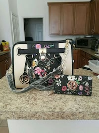 black and pink floral leather tote bag Ruskin, 33573