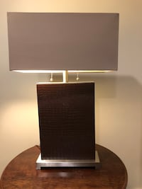 "Table Lamp / embossed ""leather"" Norwood, 02062"