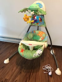 baby's white and green Fisher-Price cradle Naperville, 60540