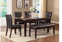 Solid Wood Dining Set for 7 persons (Table+4Chairs+Bench) cash $625 or $42 down and take at Home!! Houston, 77092