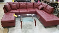Brand New Red Faux Leather Sectional Sofa  Silver Spring