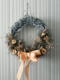 Wreath-Pale Blue Grapevine & Dried Flowers with Peach Bow