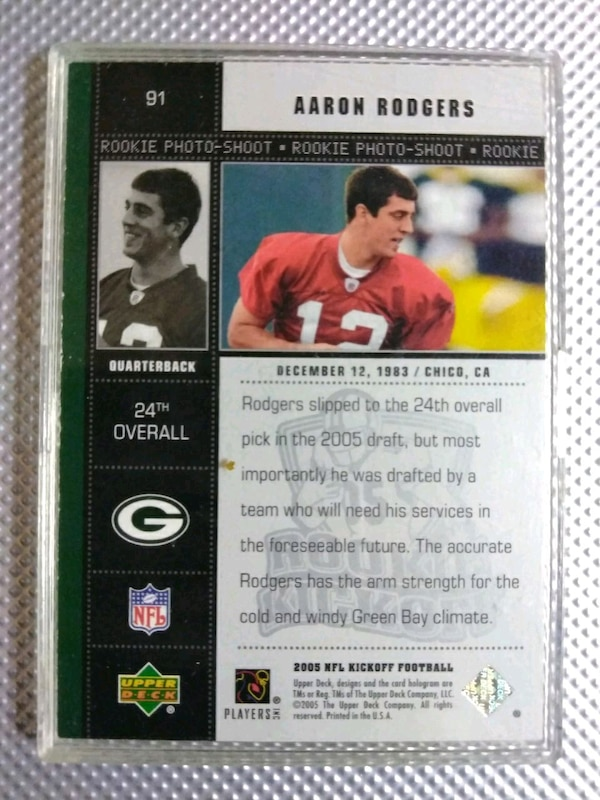 Used Aaron Rodgers Rookie Card For Sale In Pomona Letgo