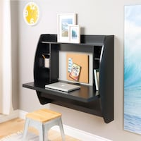 Black wooden wall mounted computer desk