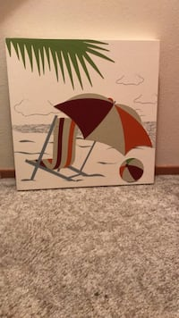 20x20 framed summer scene. Portions of the picture are raised leather. Purchased at Home Goods   Salem, 97306