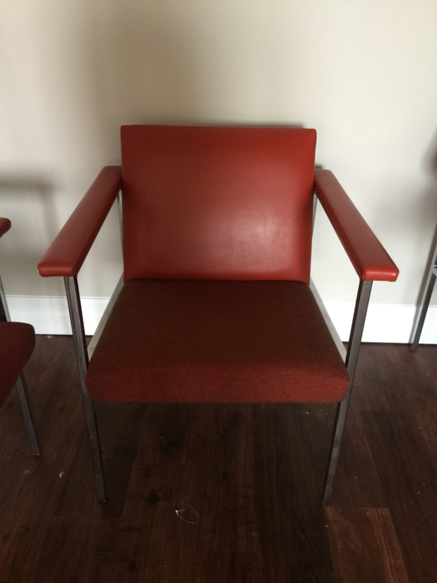 Used 3 Red Leather Armchairs In Kitchener