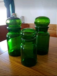 Vintage Green Glass Apothecary Jars w/Bubble Lids  Stephens City