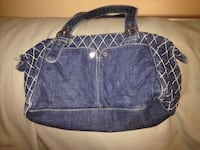 blue and white leather tote bag Moncton