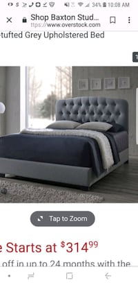 Full size headboard and footboard fabric Gray
