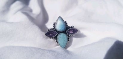 Larimar and Amethyst Sterling Silver Ring