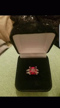 silver and red gemstone ring Lancaster