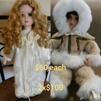two white and brown dressed porcelain dolls El Paso, 79905