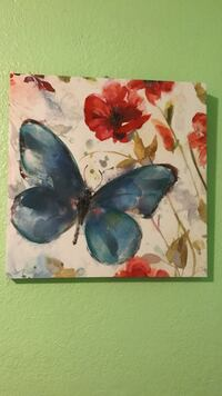 blue butterfly with red flower painting wall decoration
