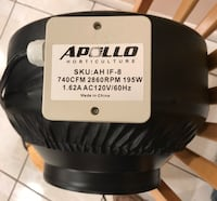 """Apollo Horticulture 8"""" Inch 740 CFM Inline Duct Fan with Built In Variable Speed Controller Ventura, 93003"""