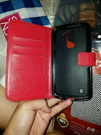 black and red leather smartphone flip case Arlington Heights, 60005