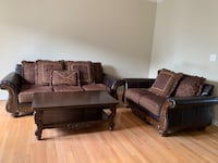 Brown Leather and fabric Sofa set Woodstock, 21163