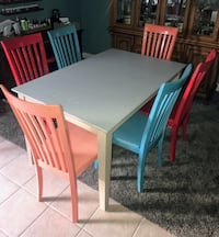 Solid wood kitchen table and leaf with 6 chairs Norman, 73069