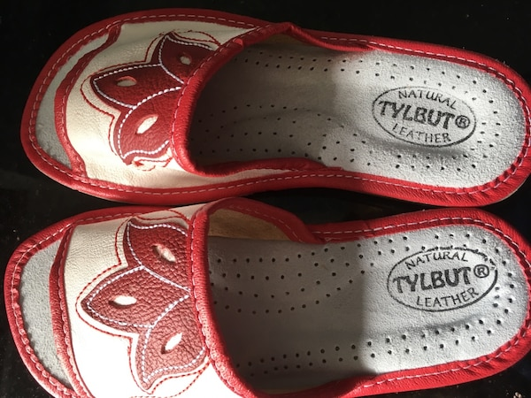 22267b614ff Used Pair of gray-and-red floral Tylbut leather slide sandals for sale in  Whitby