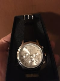 New Silver and Black leather watch Edmonton