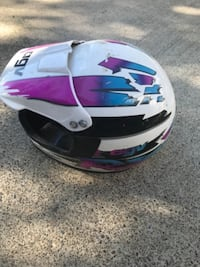 white, blue, and purple full-face helmet McMinnville