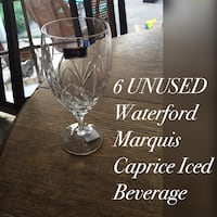 six clear Waterford Marquis Caprice Iced beverage drinking glasses