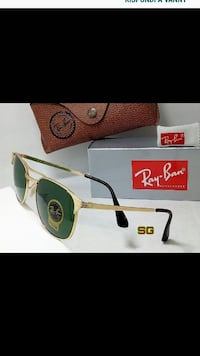 occhiali da sole Ray-Ban color oro con borsa e custodia morbida in pelle marrone Monteviale, 36050