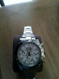 round silver-colored chronograph watch with link b Rahway, 07065