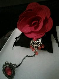 red rose on a black lace bracelet with ring San Antonio