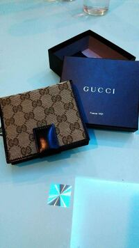 gray and black monogram Gucci leather bifold wallet with box null, 643658