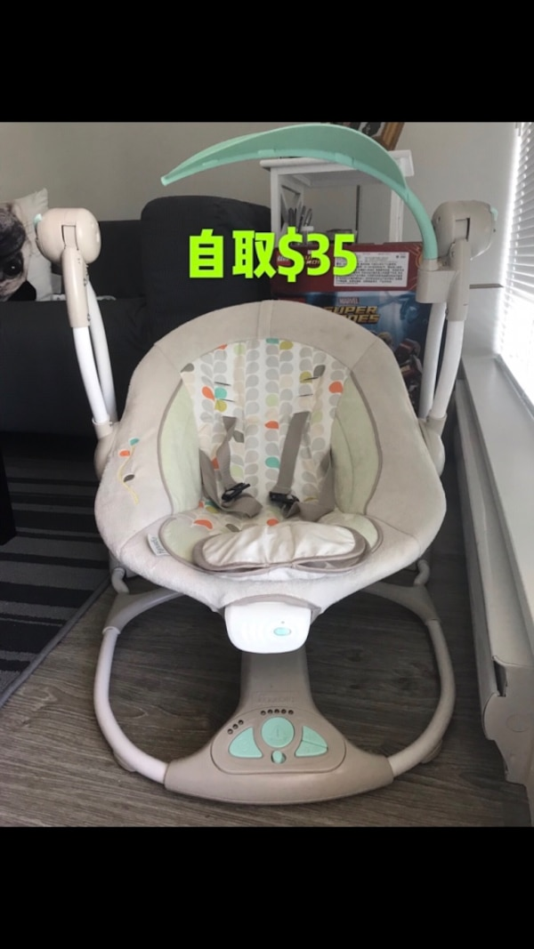 baby's white and gray cradle and swing