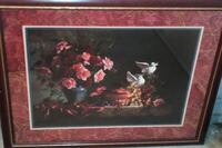 pink and red Rose flowers near two doves painting with brown frame