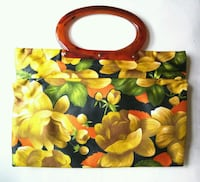 Vintage Floral Purse/Bag w/faux tortoise handle New York, 10016