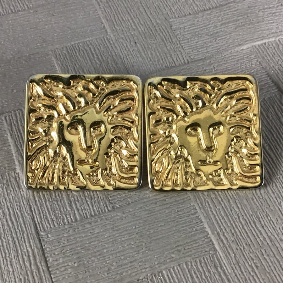 Lion post earrings, excellent condition 0