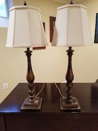 two brown wooden base white shade table lamps SPRINGFIELD