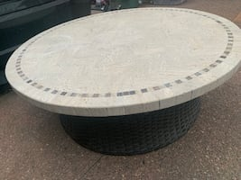 Outdoor  Patio Table - Stone with Wicker