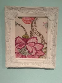 Flower frame cloth and white washed frame  1336 mi