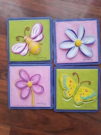 butterfly, bee and flowers wall decors