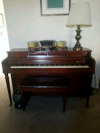 brown wooden upright piano with chair Bensalem, 19020